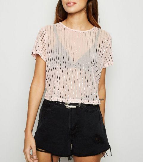 4857f0a0bc19a ... Pink Mesh Metallic Stripe Crop Top ...