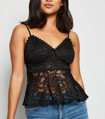 Petite Black Lace Strappy Peplum Top