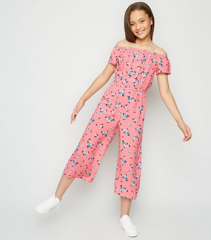 Girls Pink Floral Lattice Front Bardot Jumpsuit   New Look