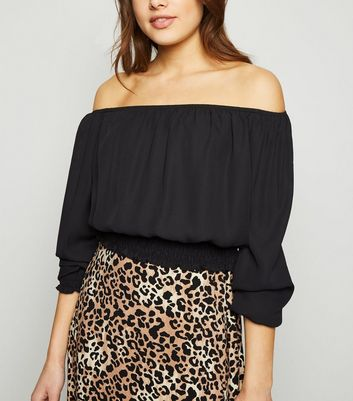 Black Chiffon Bardot Top