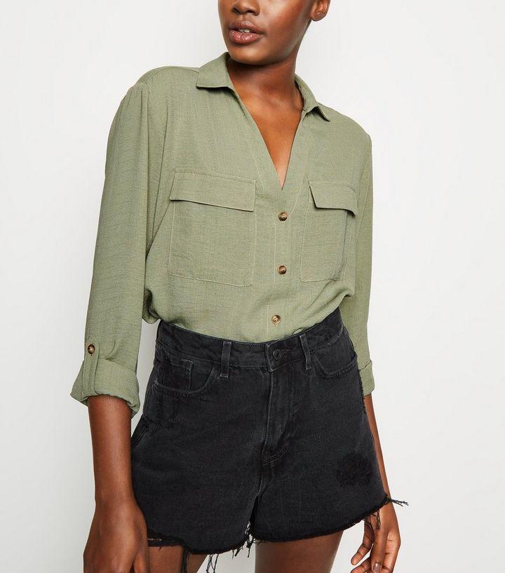 1ca96aa47c8 Khaki Button Up Utility Shirt