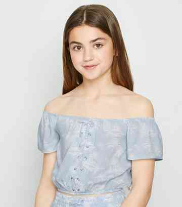 Girls Blue Tropical Lace Up Bardot Top