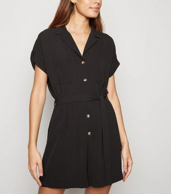 Black Revere Collar Playsuit
