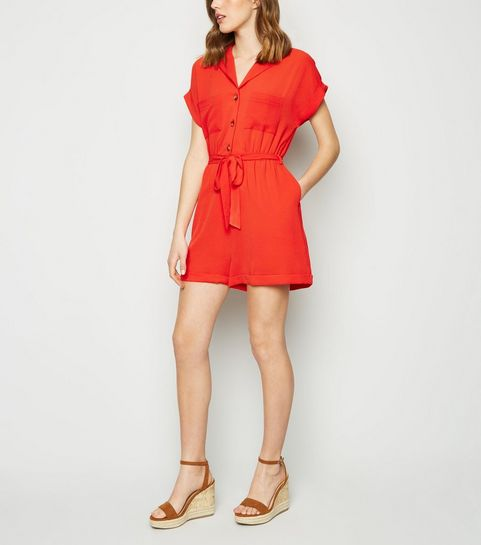 aad476caaf61 Red Revere Collar Playsuit · Red Revere Collar Playsuit ...