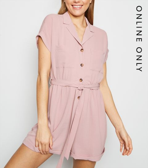 edb6d4738e ... Pale Pink Revere Collar Playsuit ...