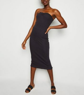 Black Frill Trim Jersey Midi Dress