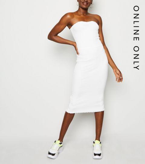 0362257a673 ... White Ribbed Jersey Midi Dress ...