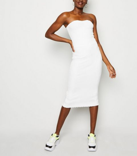 1bb3bfde731 ... White Ribbed Jersey Midi Dress ...