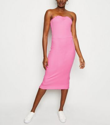 Bright Pink Frill Trim Jersey Midi Dress