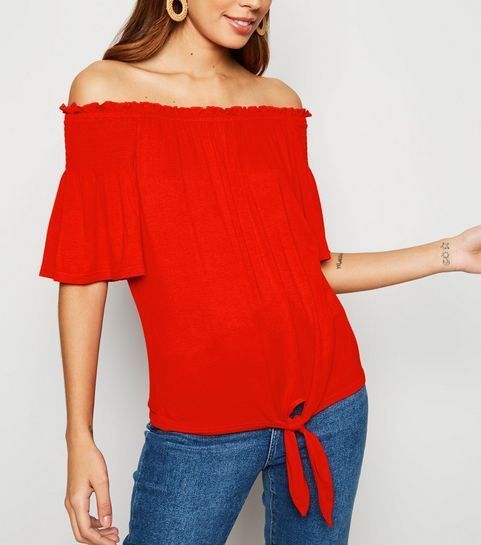 0e8ea9f9c6e ... Red Bell Sleeve Tie Front Bardot Top ...