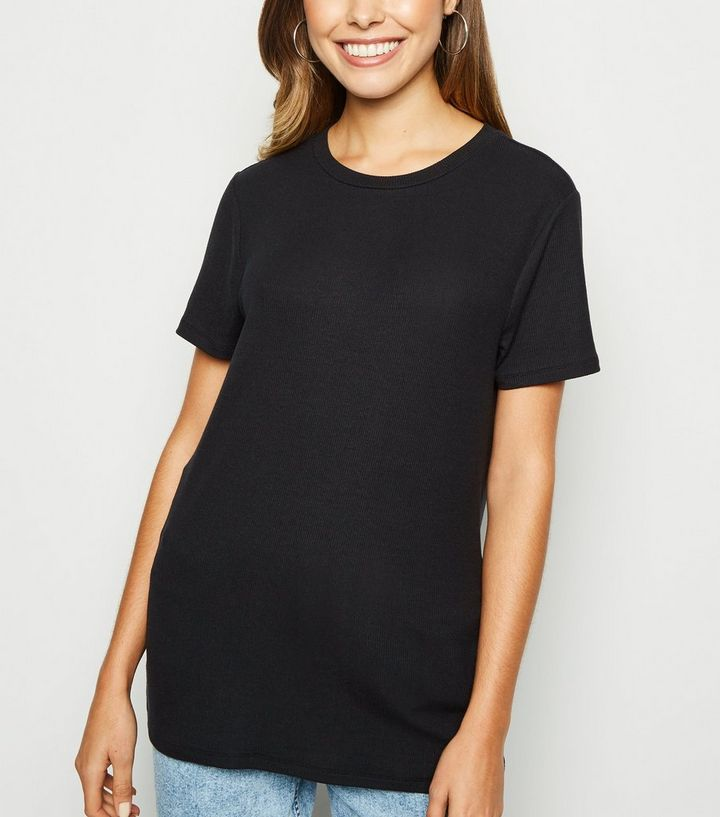 f620c3d376281 Black Ribbed Soft Touch T-Shirt Add to Saved Items Remove from Saved Items