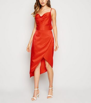Orange Satin Spot Jacquard Midi Dress