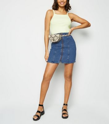 Blue Paperbag Zip Up Denim Skirt