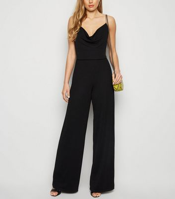 Tall Black Cowl Neck Strappy Jumpsuit
