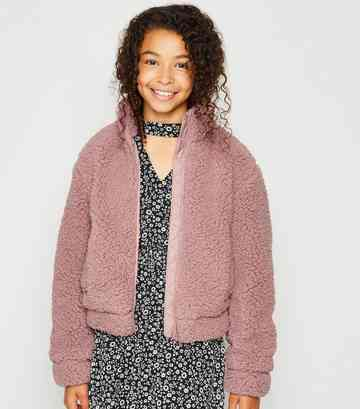 Girls Pink Ring Pull Teddy Jacket