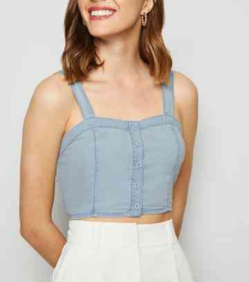 Blue Button Up Light Wash Denim Bralette