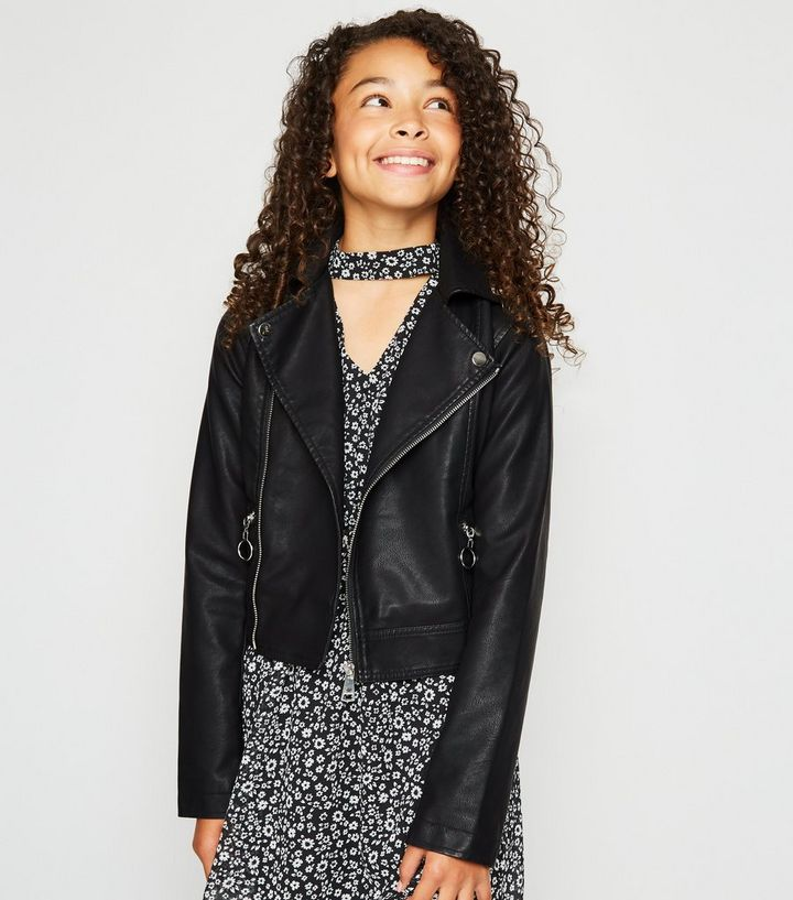 ff4f9ec12 Girls Black Leather-Look Zip Front Jacket Add to Saved Items Remove from  Saved Items