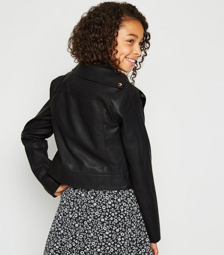 f63d05ce4e8 Girls Black Leather-Look Zip Front Jacket Add to Saved Items Remove from  Saved Items