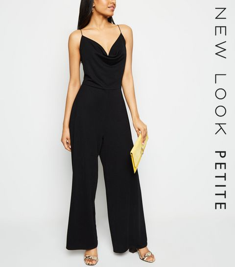 68c24dee3cb7 ... Petite Black Cowl Neck Wide Leg Jumpsuit ...