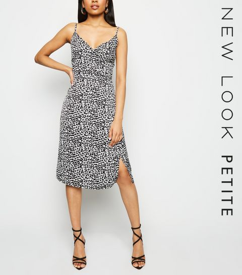 5f345a3565e5 ... Petite White Satin Leopard Print Midi Dress ...