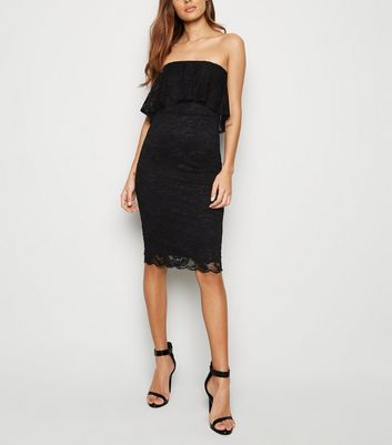 Black Lace Bandeau Bodycon Dress by New Look