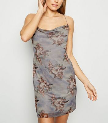 Grey Cherub Mesh Mini Slip Dress