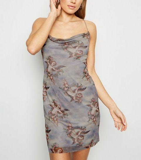 1df7f55e56 ... Grey Cherub Mesh Mini Slip Dress ...