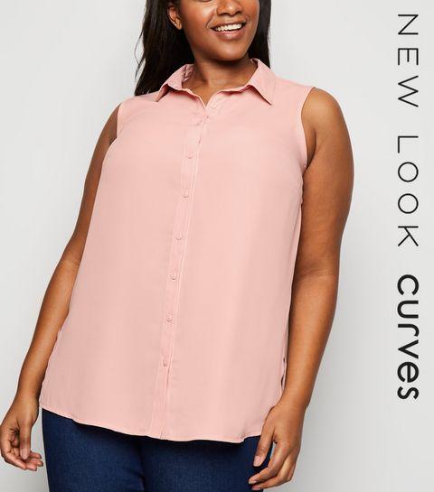 e3588fbdd3ab ... Curves Pale Pink Chiffon Sleeveless Shirt ...