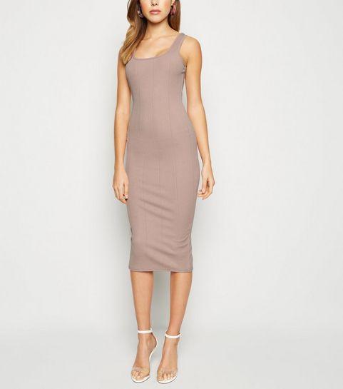 795070c729 ... Mink Ribbed Square Neck Bodycon Midi Dress ...