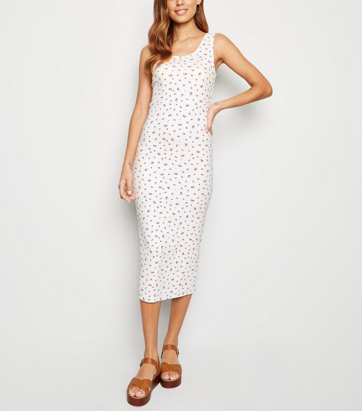 c3dab800544 White Floral Print Bodycon Midi Dress