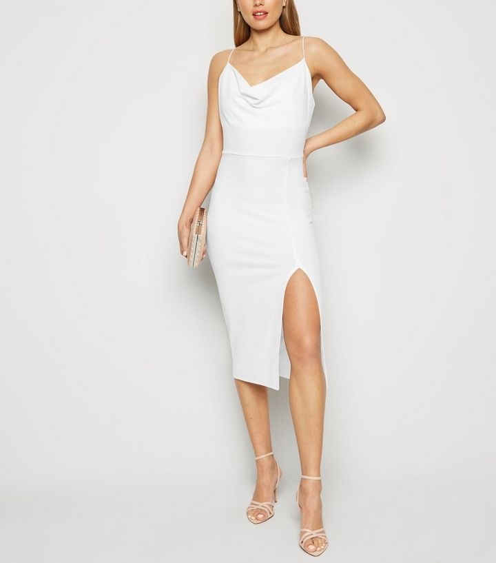 1dd2e31434b ... White Cowl Neck Side Split Midi Dress. ×. ×. ×. Shop the look