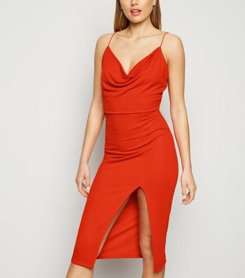 Red Cowl Neck Side Split Midi Dress