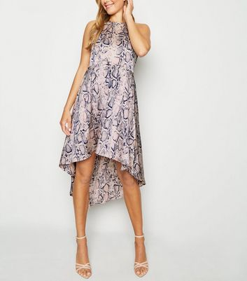 Pink Satin Snake Print Dip Hem Dress