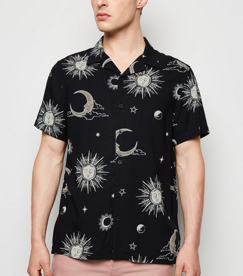 1e8075eadc3539 ... Black Sun and Moon Print Revere Collar Shirt ...