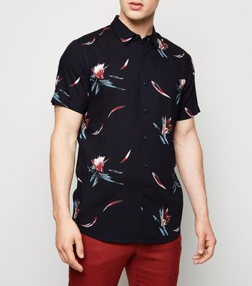 Navy Tropical Floral Short Sleeve Shirt