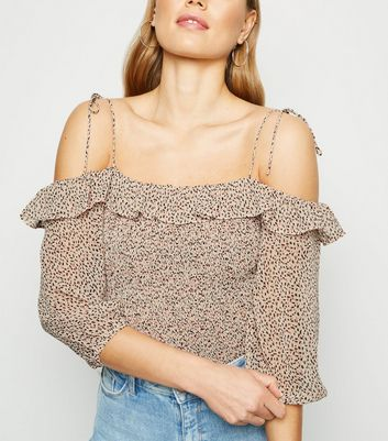 White Spot Shirred Ruffle Trim Bardot Top