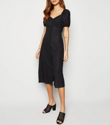 Black Linen Blend Button Up Milkmaid Dress