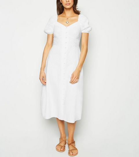 a308cb928e9545 ... White Linen Blend Button Up Milkmaid Dress ...