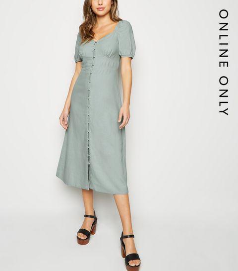 557e1d2649e ... Mint Green Linen Blend Button Up Milkmaid Dress ...