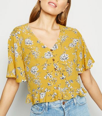 Yellow Floral Button Up Frill Trim Shirt