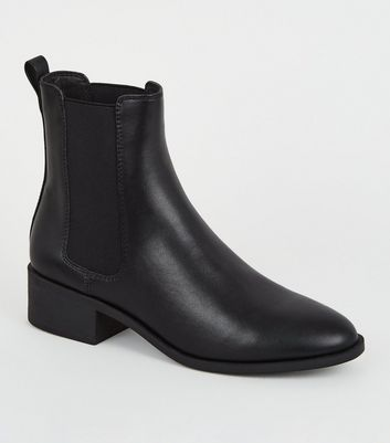 Black Leather-Look Chelsea Boots   New Look