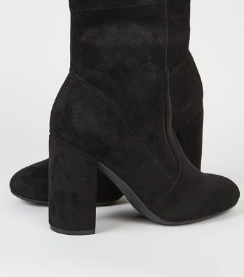 Black Suedette Block Heel Sock Boots