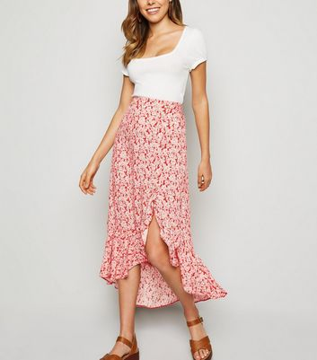 Red Floral Button Ruffle Midi Skirt