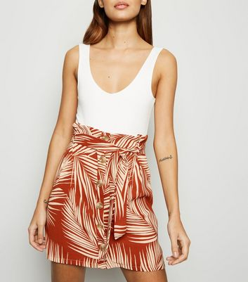 Rust Tropical Button Front Skirt