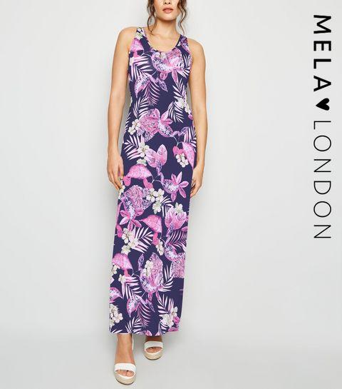 fafdb6168317e ... Mela Blue Tropical Maxi Dress ...