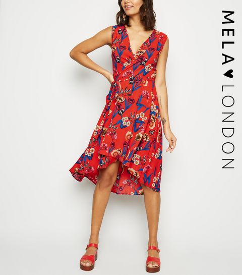 3dc3efb155 ... Mela Red Floral V Neck Wrap Dress ...