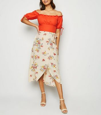 Off White Floral Jacquard Wrap Midi Skirt