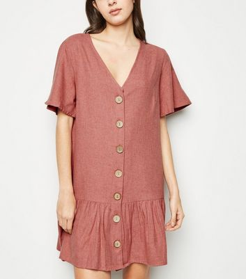 Influence Pink Button Up Smock Dress