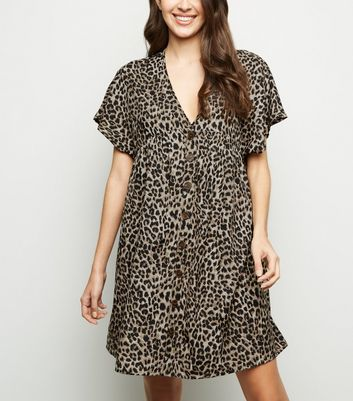 Influence Brown Leopard Print Button Front Dress