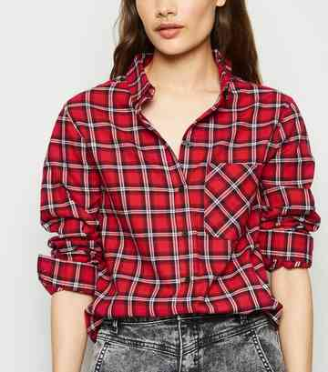 Red Tartan Check Long Sleeve Shirt